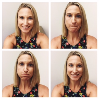 pic stitch of Kristen Reed Selfie of Bell's palsy